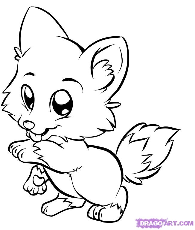 draw baby animals black white sketch pencil art