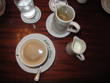 Coffee from Cafe de Flore (famous coffee shop in Paris)