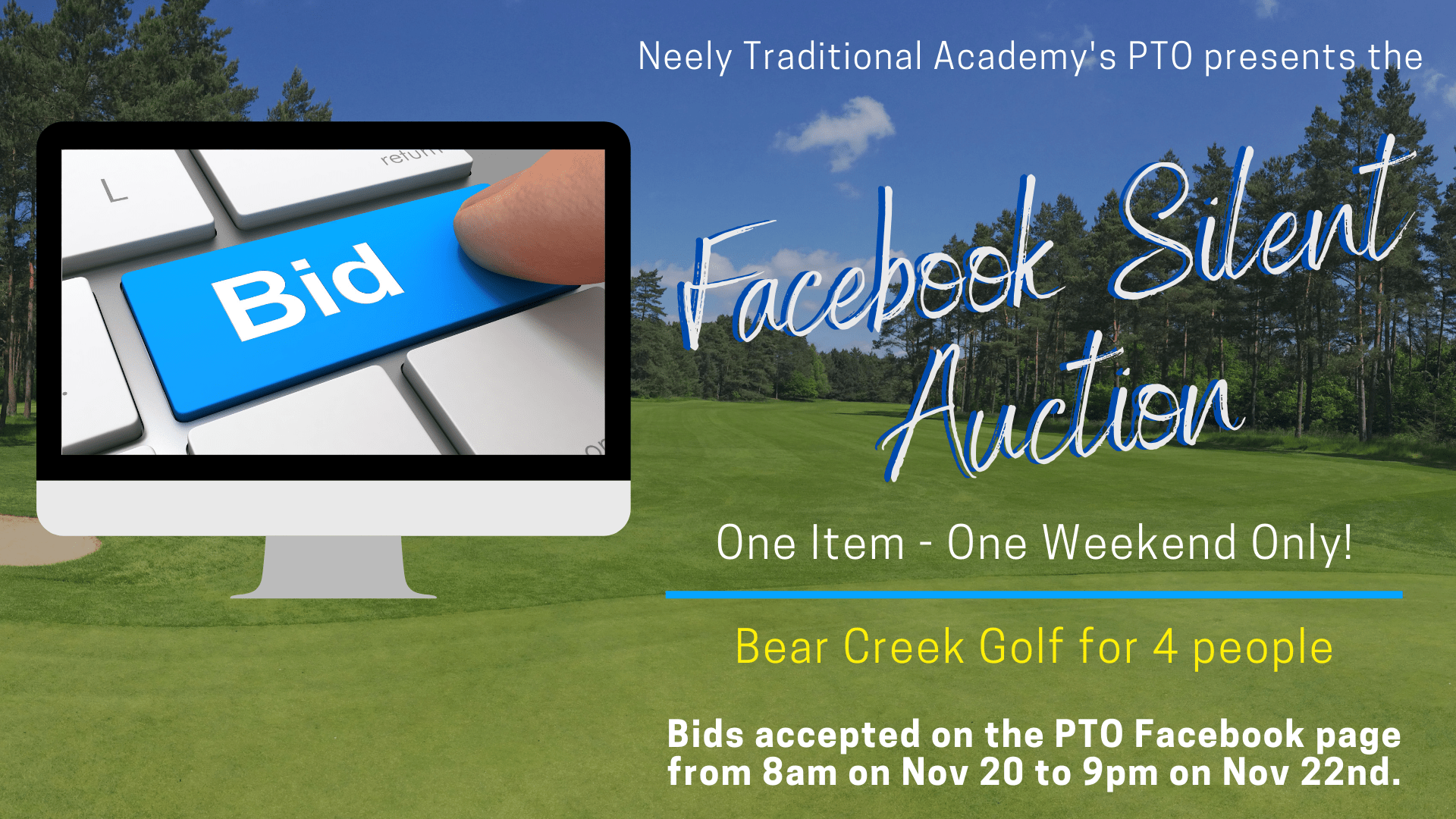 Our first Facebook Silent Auction is this weekend! Visit our page from 8am on Nov 20 to 9pm on Nov 22 to bid on our Bear Creek Championship Course golf round for 4 people! The cart is included and any open tee time after 10am is available. Certificate expires on December 15, but the best time to hit the links is NOW, anyway! The value of this item is up to $260! Opening bid is $150.