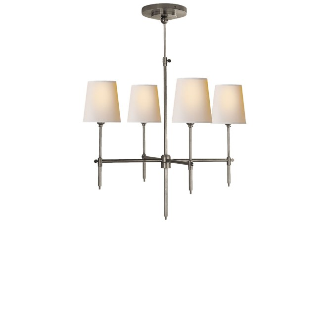Antique Nickel Finish Natural Paper Shade Chevron Left Right Small Bryant Chandelier