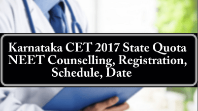 Karnataka CET 2017 State Quota NEET Counselling Registration Schedule Date