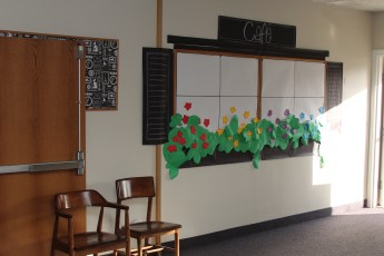 Bulletin boards transformed into cafe windows