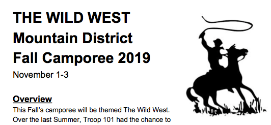THE WILD WEST Mountain District Fall Camporee 2019