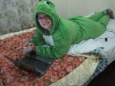 Relaxing in my toasty frog onesie