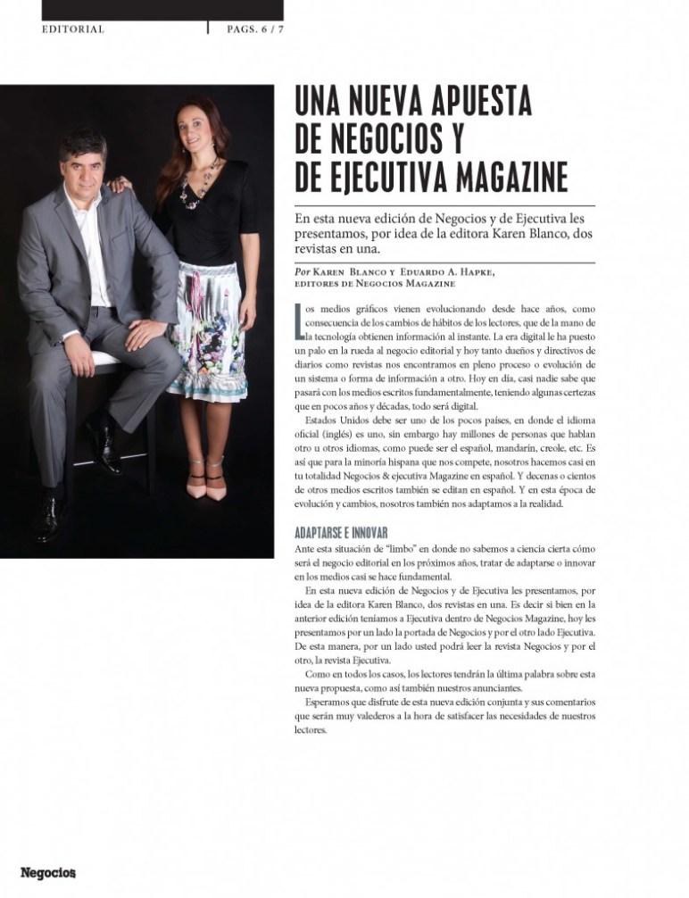 Negocios Magazine Karen blanco y Eduardo Hapke