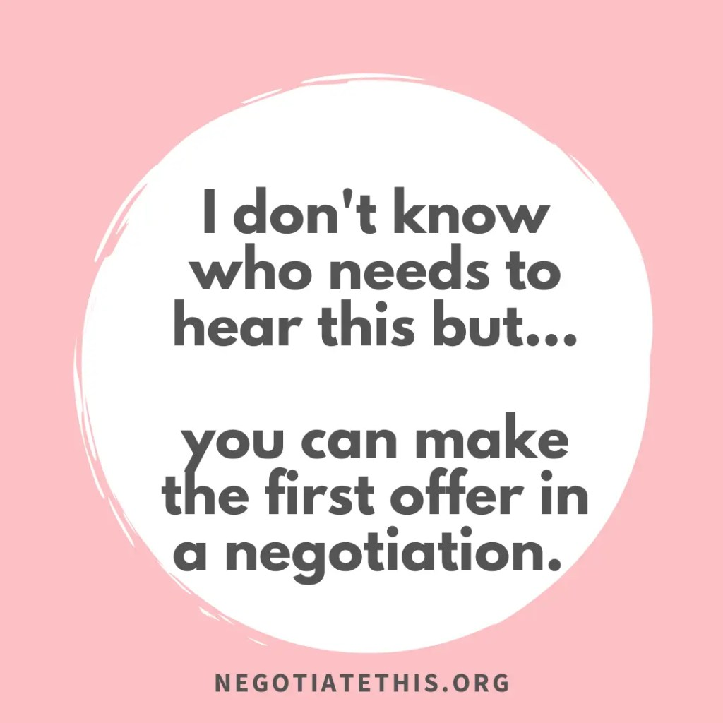 first offer in a negotiation