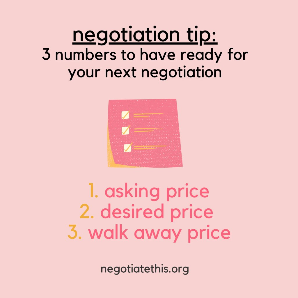 3 numbers to have ready for negotiation
