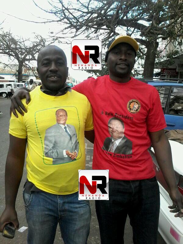 Mugabe and Tsvangirai supporter