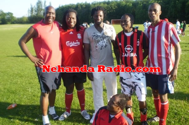"In happier times: Michael Mandaza (left) seen here with Tumelo Hove ""Fish"" (former Zimbabwe Saints keeper), Benjani Mwaruwari (former Auxere, Portsmouth, Man City) Melusi Mthombeni (former Highlanders and Air Zimbabwe jets), Engelbert Chitsamba ""Dhana"" Rufaro Rovers (right) and Bekezela Ncube (former Highlanders juniors) seated."
