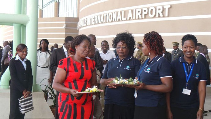 These ladies enjoy a snack at Victoria Falls Airport. Picture by Believe Nyakudyara