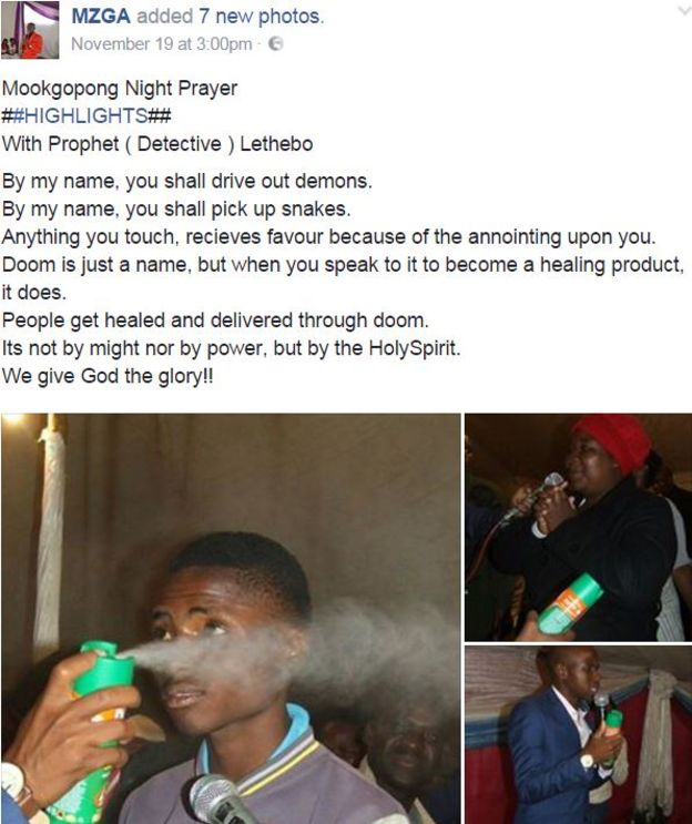 The pastor claims afflicted church members have been delivered after being sprayed with the insecticide