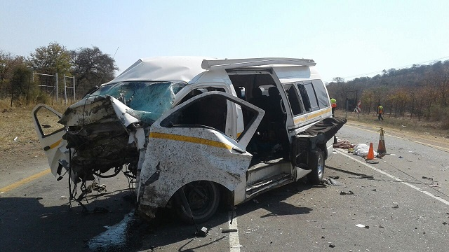 The wreckages of the Toyota Quantum and the smaller car which collided near Musina in South Africa on Sunday