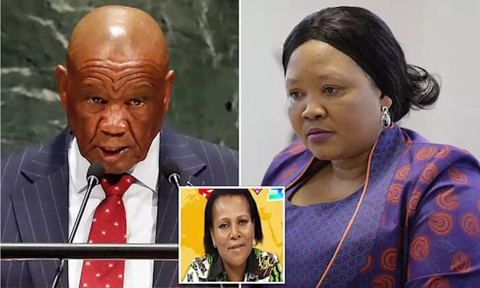 Thomas Thabane's 58-year-old wife Lilopelo was gunned down outside her home in the capital Maseru in June 2017, just two days before he took office, following a bitter divorce battle. Sitting alongside the premier at his inauguration was Maesaiah Thabane, 42, who he married two months later. She was charged with murder earlier this month.