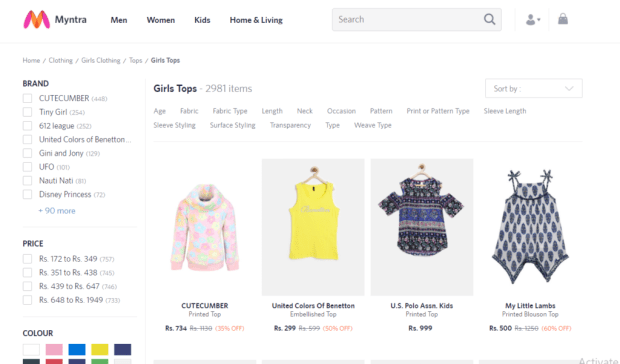 Online shopping sites like Myntra have a large variety of choices