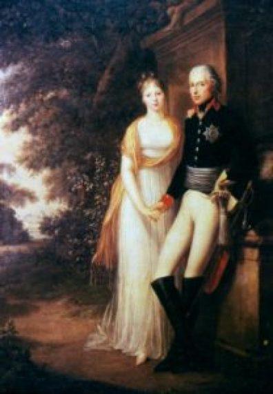Friedrich Georg Weitsch, King Friedrich Wilhelm III. and Queen Luise of Prussia in the garden of Charlottenburg Castle (1799).