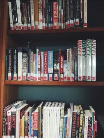 Newly installed Graphic Novel section at the Bentley library. (Photo by Catherine Monroy)