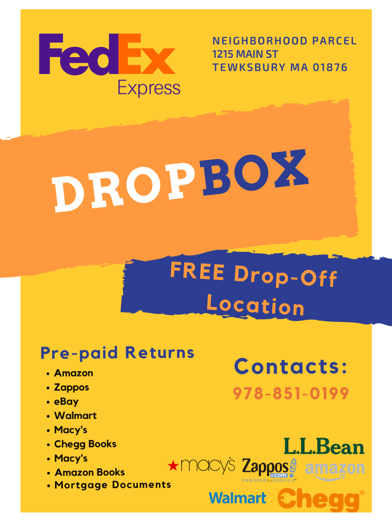 FedEx Dropbox location in Tewksbury, Dracut, Lowell, Wilmington, Billerica MA