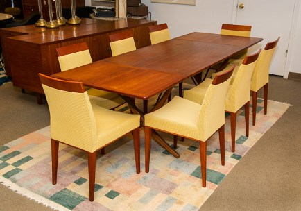 Set of 10 dining room chairs by Paco Capdell, $2,000; Table by Hans Wagner, $7,000.