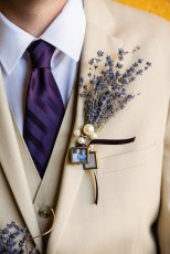 """""""I was the bride who did everything herself,"""" Nicole says. She crafted Nathaniel's boutonniere and her bouquet out of dried lavender, to which she suspended miniature photos of loved ones who had passed, """"as a way to have them there with us. My mom's mother, who was at the wedding, used lavender in many things, and I associate it with her. That was the original inspiration."""""""
