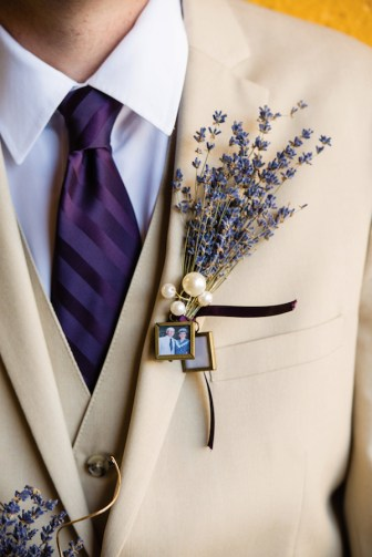 """I was the bride who did everything herself,"" Nicole says. She crafted Nathaniel's boutonniere and her bouquet out of dried lavender, to which she suspended miniature photos of loved ones who had passed, ""as a way to have them there with us. My mom's mother, who was at the wedding, used lavender in many things, and I associate it with her. That was the original inspiration."""