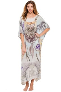 Camilla Home of Deity silk caftan, $599, all available at Everything But Water, Somerset Collection, Troy.