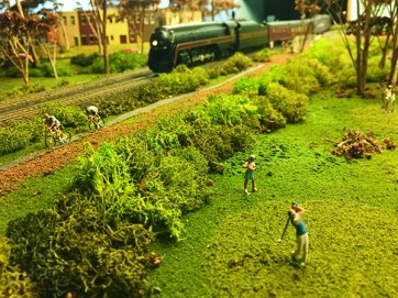 Hamilton says his friends often bring their children to his home to view his model trains, which feature lifelike details