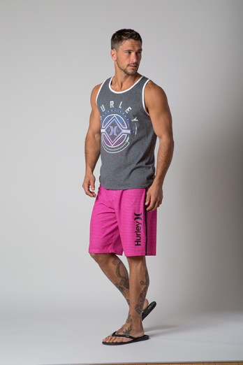 Hurley Lined Up Phantom boardshort, $60, and grey Hurley tank, $30, available at The Buckle, Rochester Hills.
