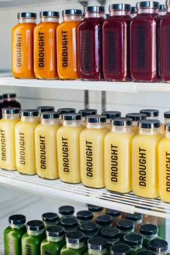A selection of ready-to-go juices from Drought. Juices from Naked Fuel.