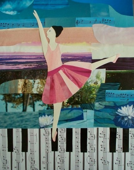 "Miranda Vitello, ""Piano Promenade."" Mixed media, 14 x 11"
