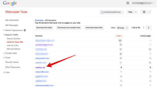 Google Webmaster Tools link profile SEO company