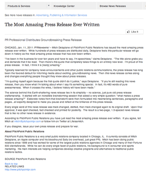 the most amazing press release ever written