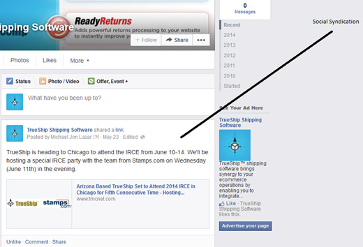 Facebook social syndication for press releases
