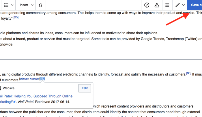 advanced SEO techniques save changes on wiki