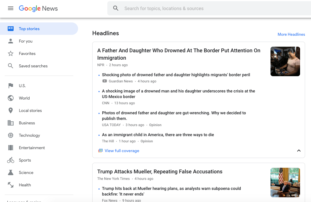 google news section