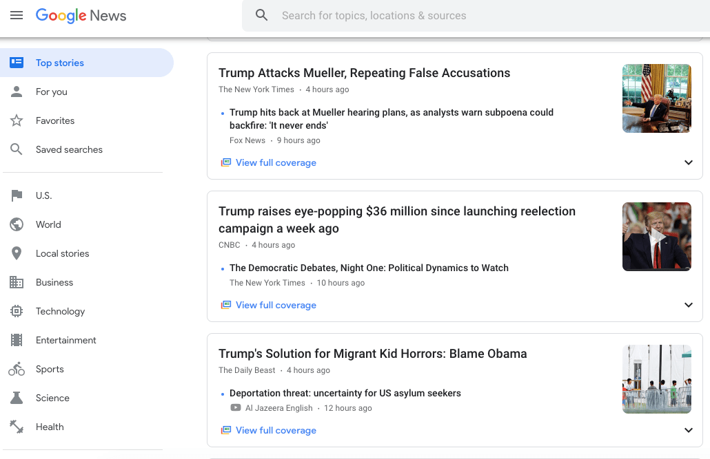 google news homepage