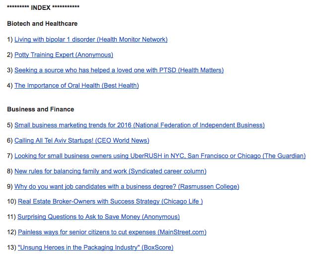 HARO email - PR sites