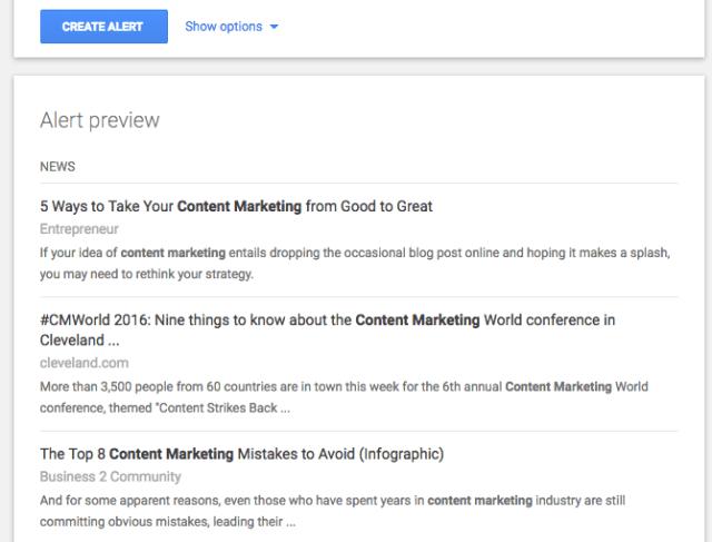 setting a Google alert - PR sites