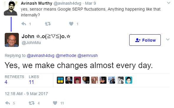 increase google rankings - John Mu tweet confirming daily updates.