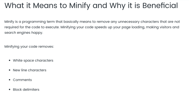 make site load faster minify code definition