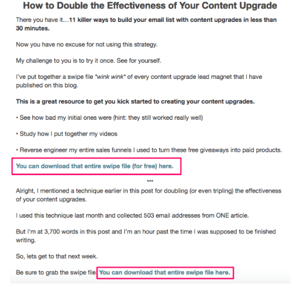 lead magent example use content upgrages