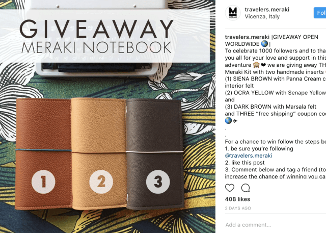instagram contest ideas - description example (meraki notebook)