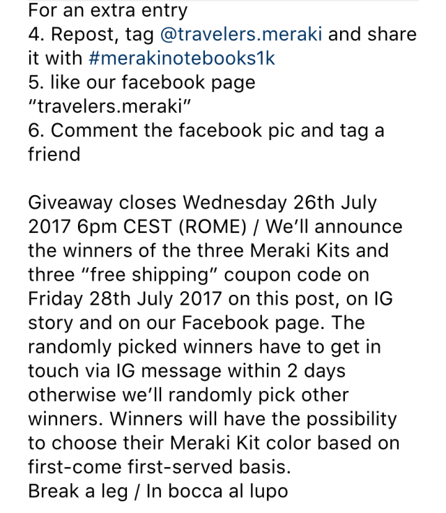instagram contest idea - terms of the contest