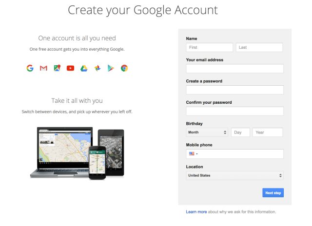 Arc and Create your Google Account