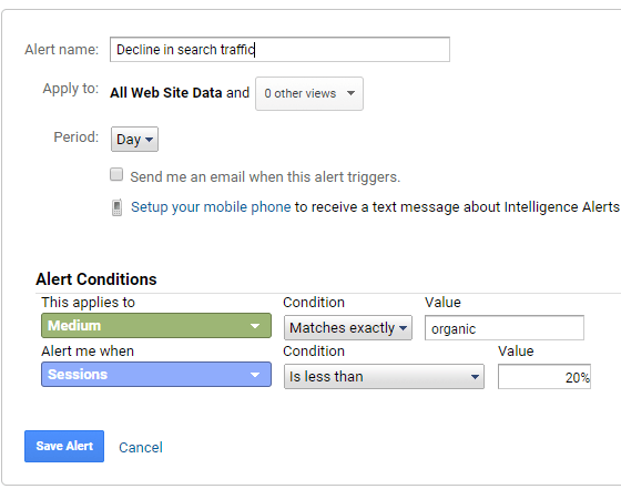 create alert when search traffic declines