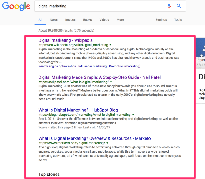 digital marketing Google Search