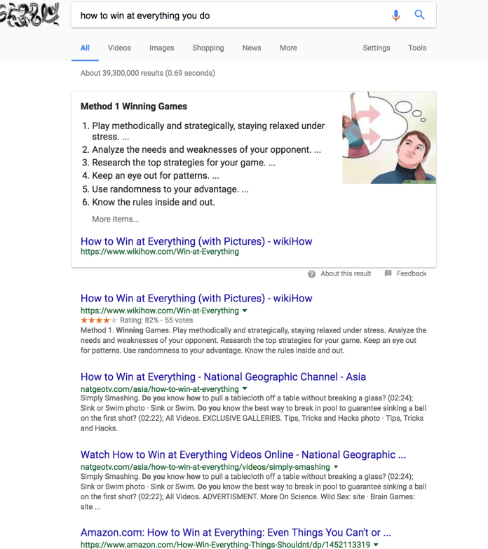 how to win at everything you do Google Search