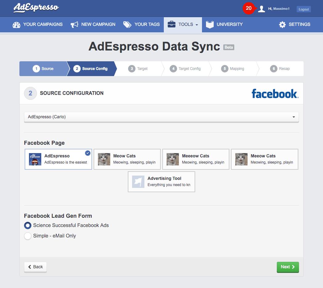 sync hubespresso lead ads