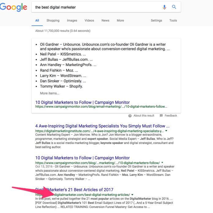 the best digital marketer Google Search
