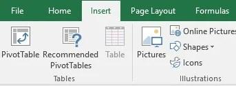 Insert a pivot table