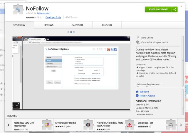 NoFollow Chrome Web Store